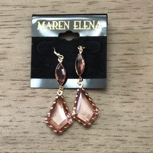 Pair of Gold tone earrings with light pink.
